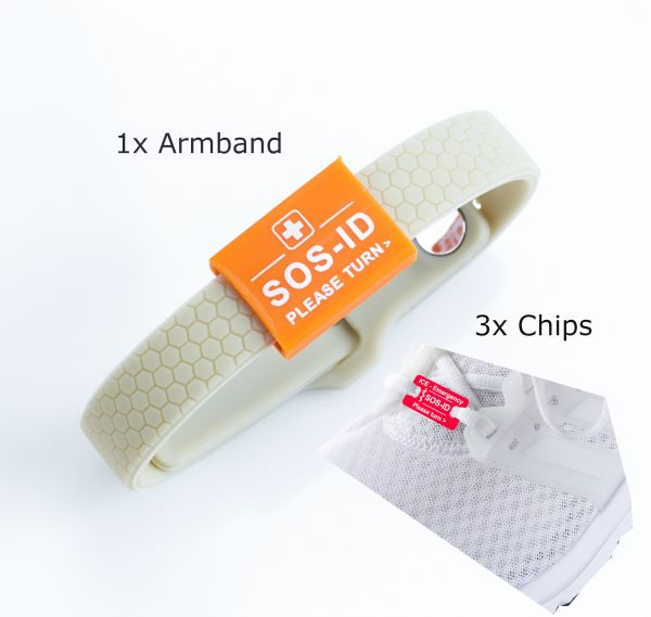 SOS-ID Set Universal Chips Rot & Armband Taupe